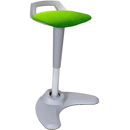 Spry Sit-Stand Stool Grey Frame Fabric Seat Swizzle Green