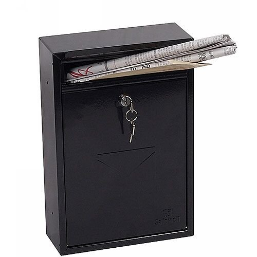 Phoenix Letra MB0116KB Front Loading Mail Box in Black with Key Lock Black