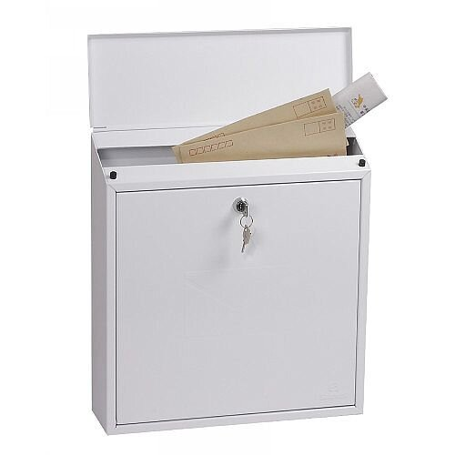Phoenix Clasico MB0117KW Front Loading Mail Box in White with Key Lock White