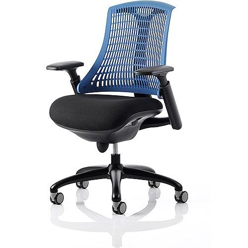 Flex Task Operator Office Chair Black Frame With Black Fabric Seat Blue Back With Arms