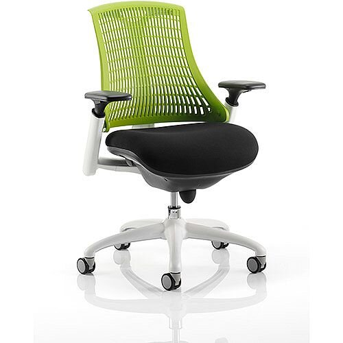 Flex Task Operator Office Chair White Frame Black Fabric Seat With Green Back With Arms