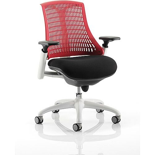 Flex Task Operator Office Chair White Frame Black Fabric Seat With Red Back With Arms