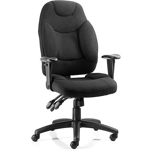 Galaxy Task Operator Office Chair Black Fabric With Arms, Seat Height: 430-530mm, Weight Tolerance: 150Kg, 3 Lever Mechanism, Adjustable Arms, Upholstered Seat, back and outer