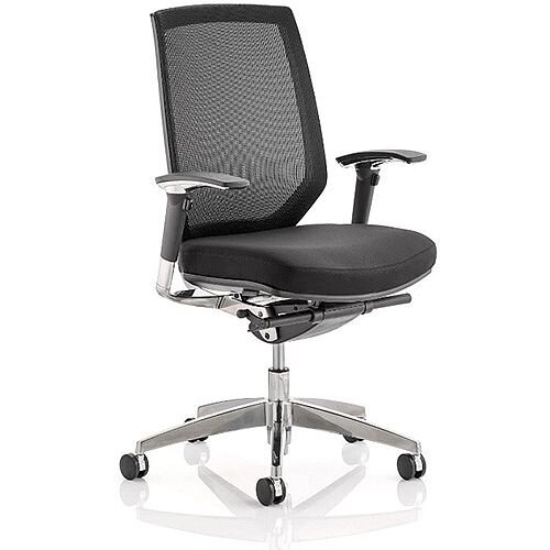 Midas Task Operator Office Chair Black Fabric Black Mesh Back With Arms