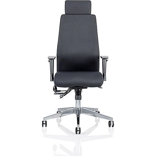 Onyx Ergo Posture Office Chair Black Fabric With Headrest With Arms