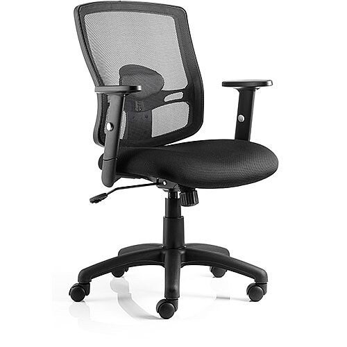 Portland Task Operator Office Chair Black Mesh With Arms
