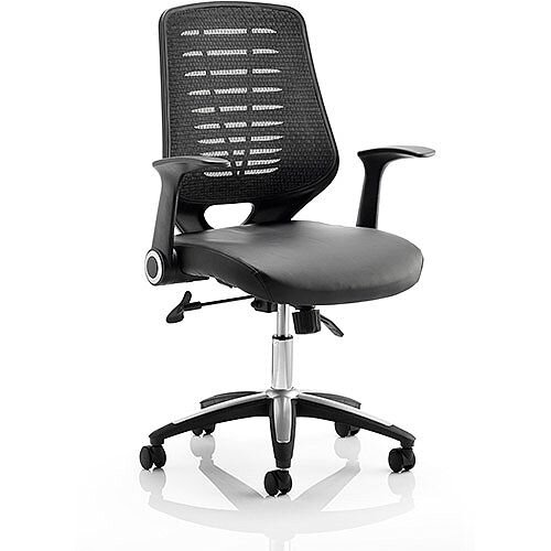Relay Task Operator Office Chair Leather Seat Black Back With Arms