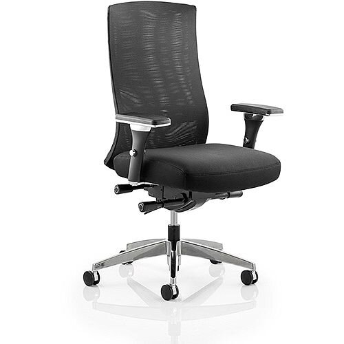 Tesla Task Operator Office Chair Mesh Back Black Fabric Seat With Arms