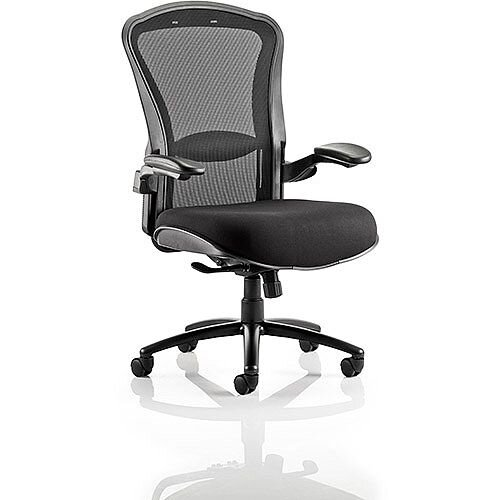 Houston Heavy Duty Task Operator Office Chair Mesh Back Black Fabric Seat With Arms