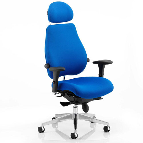 Chiro Plus Ultimate Posture Office Chair Blue With Arms &Headrest