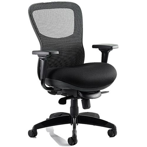 Stealth Shadow Ergo Posture Office Chair Black Airmesh Seat And Mesh Back With Arms