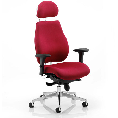 Chiro Plus Ergo Posture Office Chair Wine With Arms &Headrest