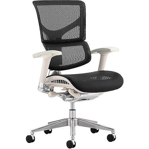 Ergo-Dynamic Grey Frame Black Mesh Ergonomic Posture Office Chair - Soft designer mesh seat and split back