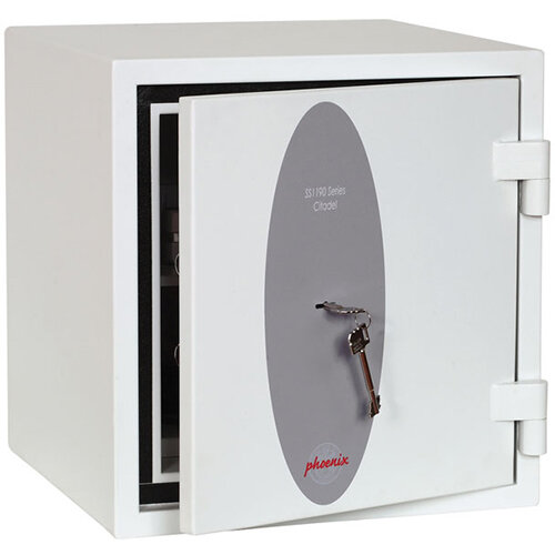 Phoenix Citadel SS1192K Size 2 Fire &S2 Security Safe with Key Lock White 31L 30mins Fire Protection