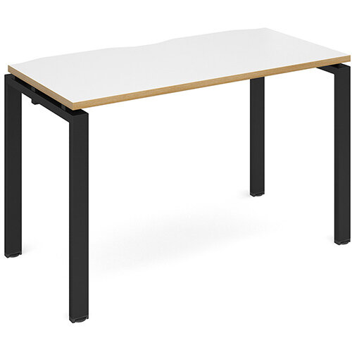 Adapt II single desk 1200mm x 600mm - black frame, white top with oak edging