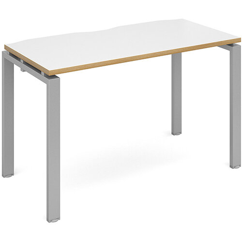 Adapt II single desk 1200mm x 600mm - silver frame, white top with oak edging