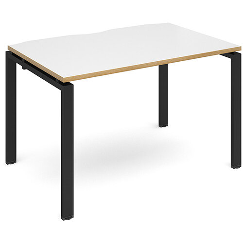 Adapt II single desk 1200mm x 800mm - black frame, white top with oak edging