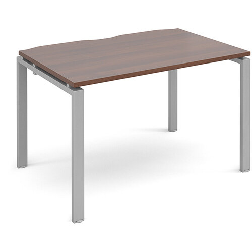 Adapt II single desk 1200mm x 800mm - silver frame, walnut top