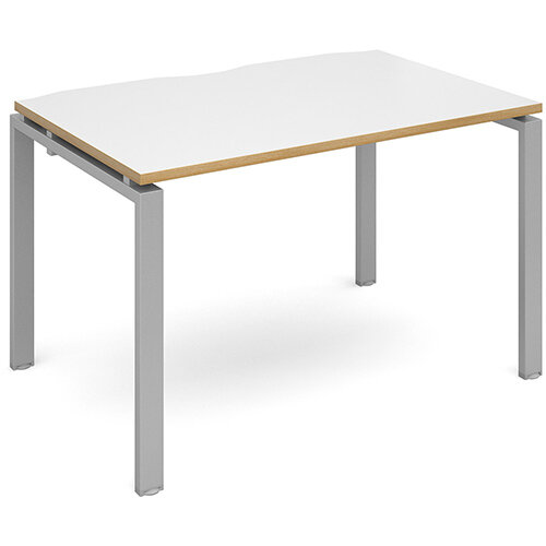 Adapt II single desk 1200mm x 800mm - silver frame, white top with oak edging