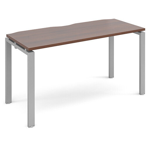 Adapt II single desk 1400mm x 600mm - silver frame, walnut top