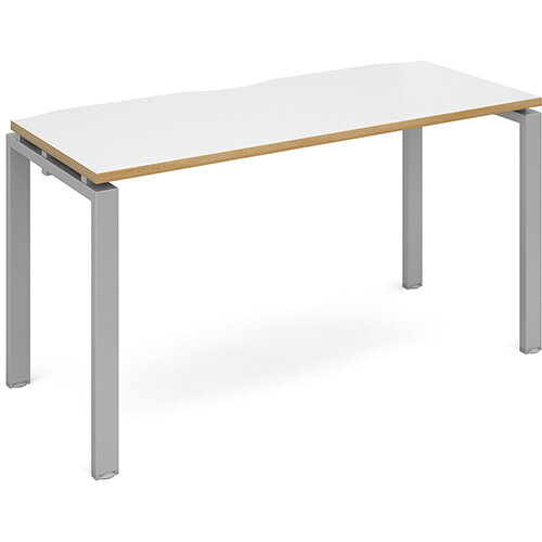 Adapt II single desk 1400mm x 600mm - silver frame, white top with oak edging