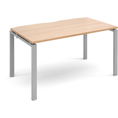 Adapt II single desk 1400mm x 800mm - silver frame, beech top