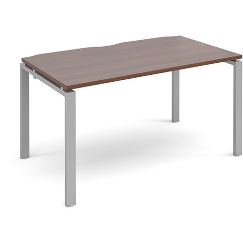 Adapt II single desk 1400mm x 800mm - silver frame, walnut top