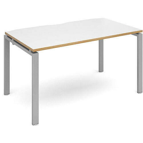 Adapt II single desk 1400mm x 800mm - silver frame, white top with oak edging