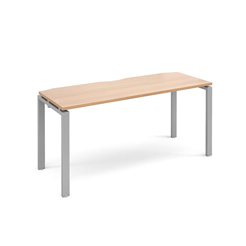 Adapt II single desk 1600mm x 600mm - silver frame, beech top