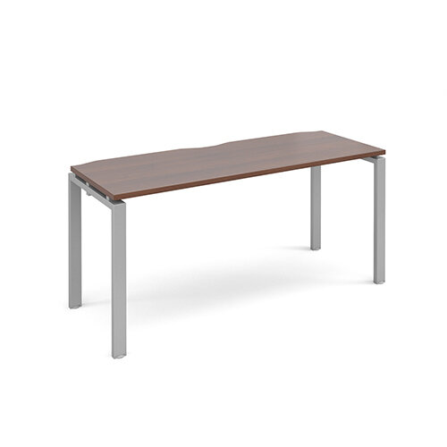 Adapt II single desk 1600mm x 600mm - silver frame, walnut top