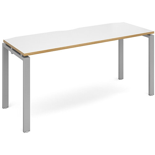 Adapt II single desk 1600mm x 600mm - silver frame, white top with oak edging