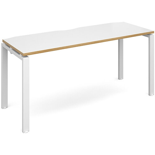 Adapt II single desk 1600mm x 600mm - white frame, white top with oak edging