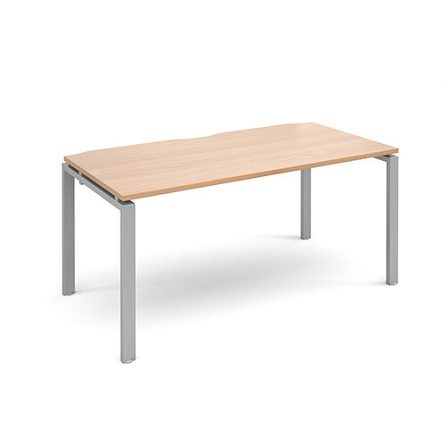 Adapt II single desk 1600mm x 800mm - silver frame, beech top