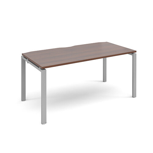 Adapt II single desk 1600mm x 800mm - silver frame, walnut top