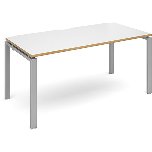 Adapt II single desk 1600mm x 800mm - silver frame, white top with oak edging