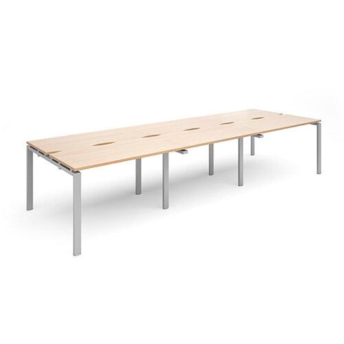 Adapt II triple back to back desks 3600mm x 1200mm - silver frame, beech top