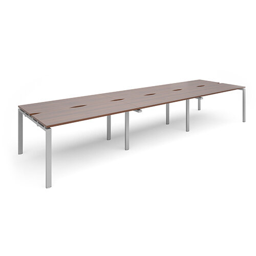 Adapt II triple back to back desks 4200mm x 1200mm - silver frame, walnut top