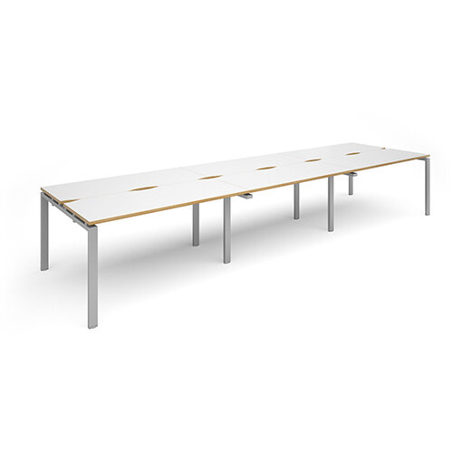 Adapt II triple back to back desks 4200mm x 1200mm - silver frame, white top with oak edging