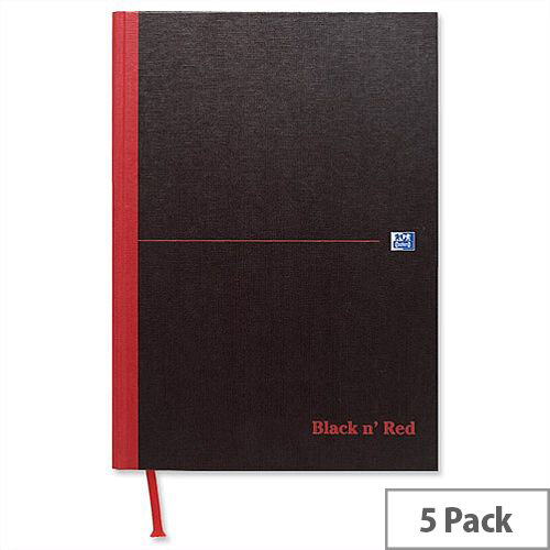 Black n Red A5 Book E66857 Casebound 192 Pages Pack 5