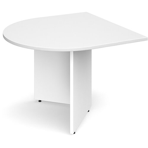 Arrow Head Leg Radial D-End Boardroom Table Extension 1000mm x 1000mm - White