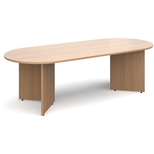 Arrow Head Leg Radial D-End Boardroom Table 2400mm x 1000mm - Beech