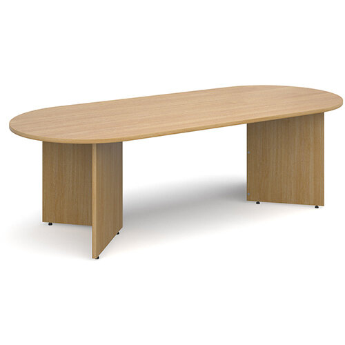 Arrow Head Leg Radial D-End Boardroom Table 2400mm x 1000mm - Oak