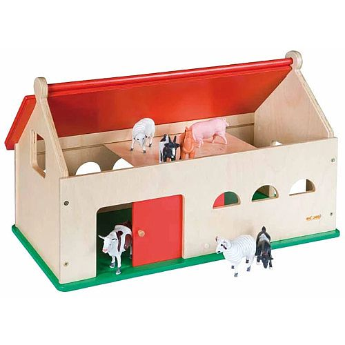 Childs Play Farmhouse – Hinged Roof, Sliding Door, Birch and Plywood Construction, Stable Structure, Flat Packed &No Accessories Included