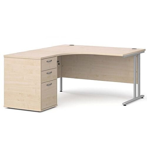 Maestro 25 SL left hand ergonomic desk 1400mm with silver cantilever frame and desk high pedestal - maple