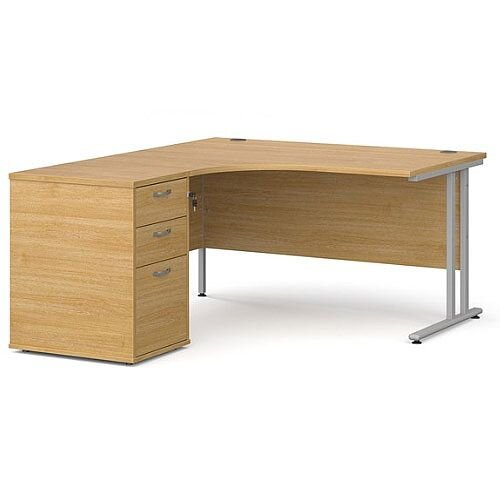 Maestro 25 SL left hand ergonomic desk 1400mm with silver cantilever frame and desk high pedestal - oak