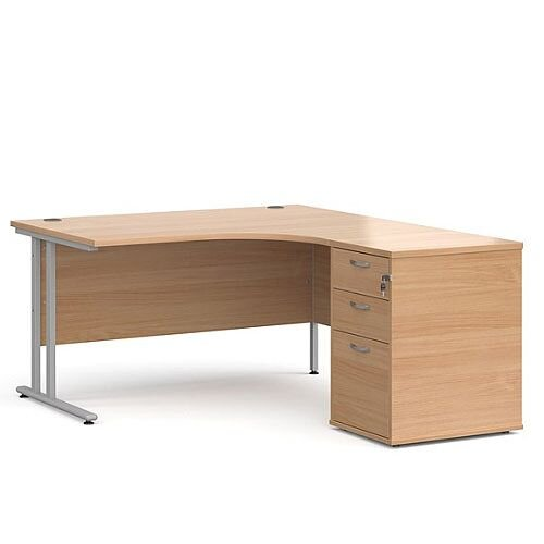 Maestro 25 SL right hand ergonomic desk 1400mm with silver cantilever frame and desk high pedestal - beech