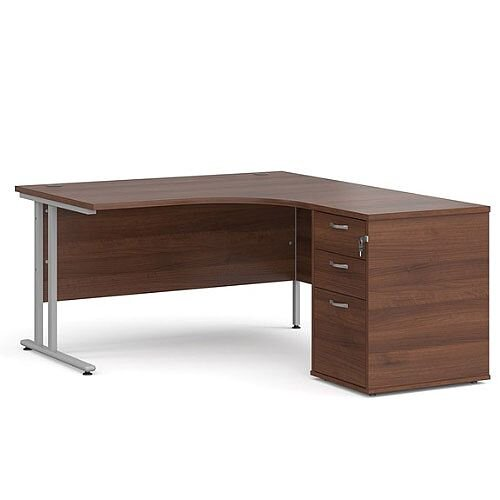 Maestro 25 SL right hand ergonomic desk 1400mm with silver cantilever frame and desk high pedestal - walnut