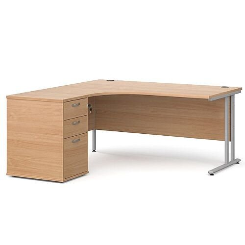 Maestro 25 SL left hand ergonomic desk 1600mm with silver cantilever frame and desk high pedestal - beech