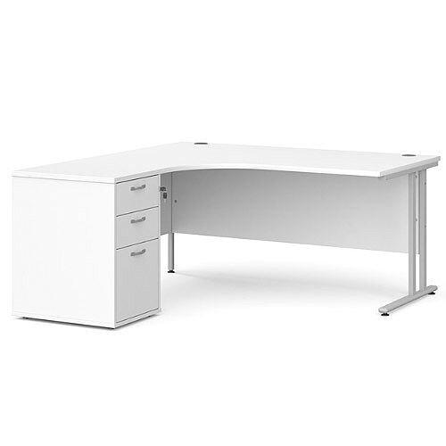 Maestro 25 SL left hand ergonomic desk 1800mm with silver cantilever frame and desk high pedestal - white