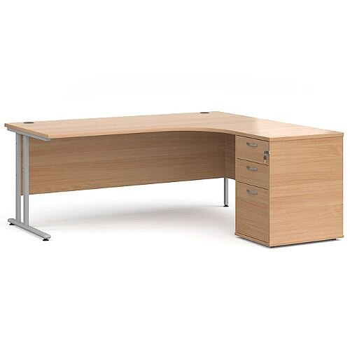 Maestro 25 SL right hand ergonomic desk 1800mm with silver cantilever frame and desk high pedestal - beech